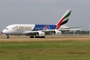 Emirates Airbus 380 (UAE) los angeles dodgers special livery