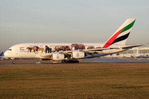 Emirates Airbus 380 (UAE) united for wildlife special livery